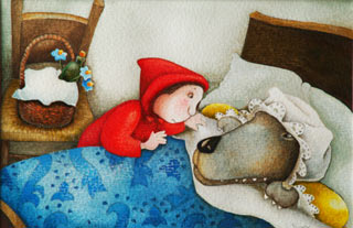 Cappuccetto Rosso e il Lupo - illustrazione - Daniela Scarpa